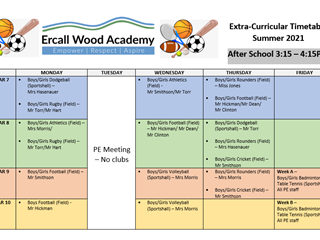 PE Extra Curricular Timetable Summer 2021